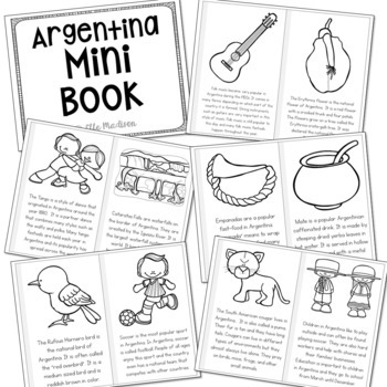 Argentina Country Study Mini Book, Coloring Pages, Activities, and Posters Set