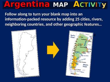 Argentina Map Activity- fun, engaging, follow-along 24-slide PPT