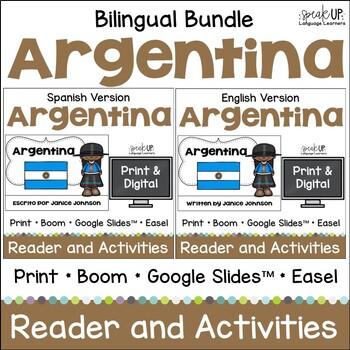 Argentina Reader & vocab pages in English & Spanish {Bilingual bundle}