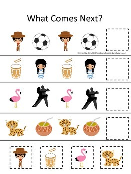 Argentina What Comes Next preschool math game.  Printable daycare curriculum.
