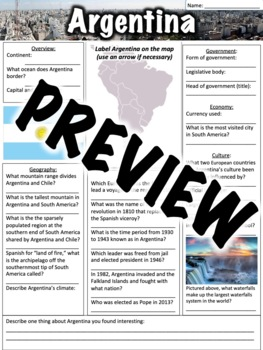 Argentina Worksheet