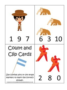 Argentina themed Count and Clip preschool math cards.  Daycare child care math.
