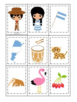 Argentina themed Memory Matching preschool learning game.  Daycare.