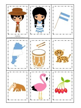 Argentina themed Memory Matching preschool learning game.