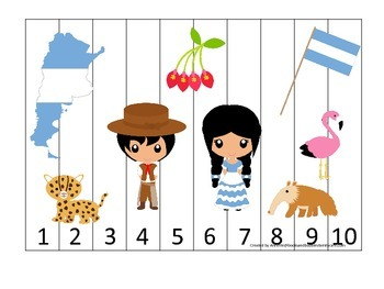 Argentina themed Number Sequence Puzzle preschool learning game. Daycare.