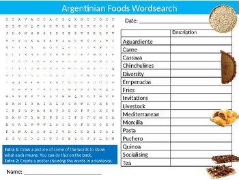 Argentinian Foods Wordsearch Puzzle Sheet Keywords Argentina Food Nutrition