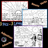 Arghh!-Beach-Water~Parts of Speech~3 Summer Coloring~3 Lvls~Noun/Verb/Adj/Adv