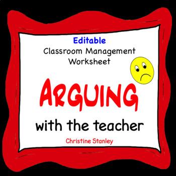 Argue -  Discipline Worksheet for Classroom Management