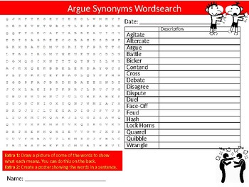 Argue Synonyms Wordsearch Sheet Starter Activity Keywords English Language