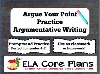 Argue Your Point!   Argumentative Writing Handouts and Task Cards  Middle School