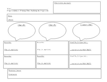 Arguementative Writing Plan