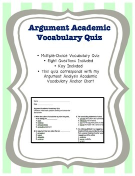 Argument Academic Vocabulary Quiz