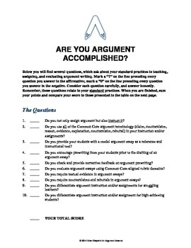 Argument Writing Accomplished? A Questionnaire for ELA Teachers