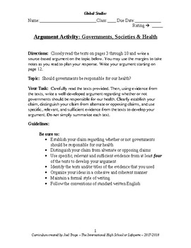 Argument Activity-Governments, Society & Health Care