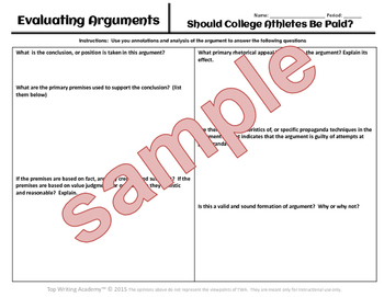 """Argument Analysis Activity """"Should College Athletes Be Paid?"""""""