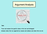 Argument Analysis: Trace & Evaluate Claims in a Text With Evidence & Reasons