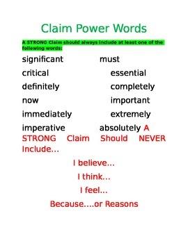 Argument Basics: Claim Power Words
