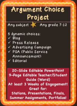 Argument Choice Project Blog Editorial Press Release Ad Campaign PSA Gr. 7-12