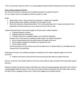 Argument: Claim, Evidence, Reasons Research Organizer