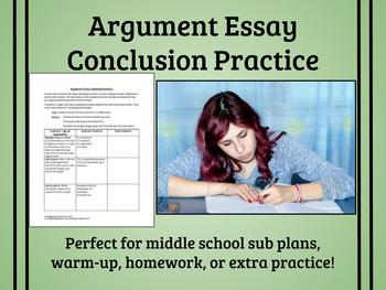 Argument Essay Conclusion Practice