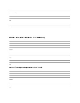 Argument Essay Drafting Blank Student Outline and Guide