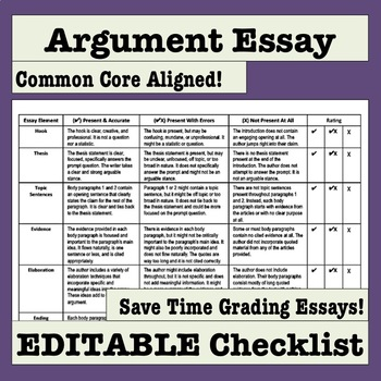 Argument Essay Editable Checklist Makes Grading Easy And Efficient  Pay To Do Assignments also Persuasive Essay Ideas For High School  Reflective Essay Thesis
