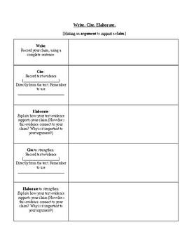 Argument Essay Graphic Organizer: Write. Cite. Elaborate.