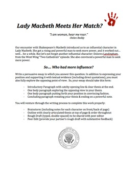 Argument Essay: Lady Macbeth Meets Her Match?