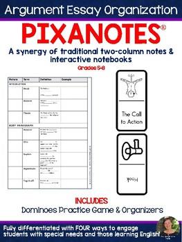 Argumentative Essay Organization Pixanotes® + Dominoes Game! (text-based)