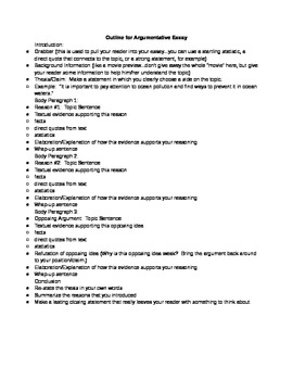 Argument Essay Outline Version 1