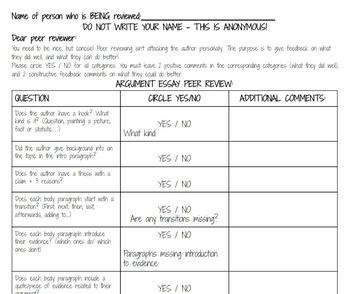 Argument Essay Peer Review Sheet & Peer Review Procedure