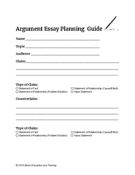 Argument Essay Planning Guide