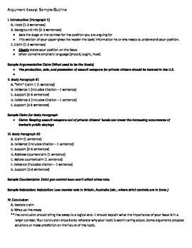 Argument essay outline example