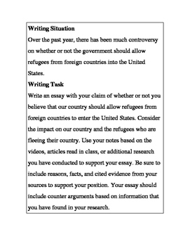 Argument Essay-Should we allow refugees into our country?