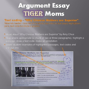 Argument Essay (Tiger Moms!) - High Interest Middle School