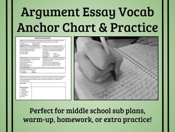 Argument Essay Vocab Anchor Chart & Practice