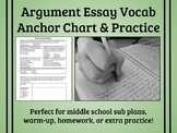 Argument Essay Vocab Anchor Chart & Practice