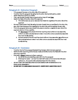 Argument Essay Writing Assignment and Writing Structure Reminders