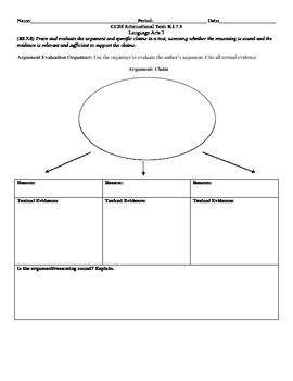 Argument Evaluation Organizer CCSS RI.7.8