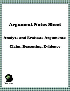 Argument Notes Sheet