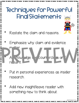 Argument/Opinion Essay Anchor Charts - Grade 5 - Writing Workshop Units of Study