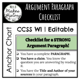 Argument Paragraph Checklist! Editable AND Ready to Print!