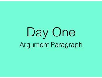 Argument Paragraph - loosely follows MAISA unit