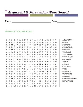 Argument & Persuasion Word Search