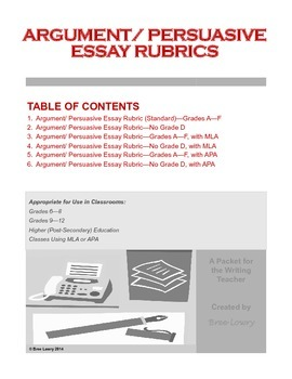 Argument/ Persuasive Essay Rubrics Packet (for Writing in All Subjects)