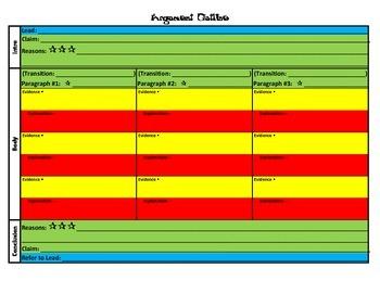 Argument Persuasive Opinion Essay Skeletal Structure (Organizer, Outline)