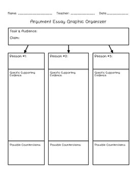 Argument Planner/Graphic Organizer - Common Core Aligned