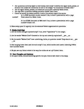 Argument-Research Essay: Peer-Review Checklist