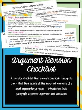 Argument Revision Checklist