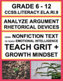 Argument + Rhetoric with SEL Nonfiction Article: Grit + Growth Mindset